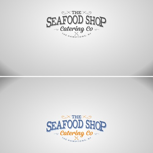 Create a refined version of our fish market logo but for catering co.Something vintage, simple with nautical theme