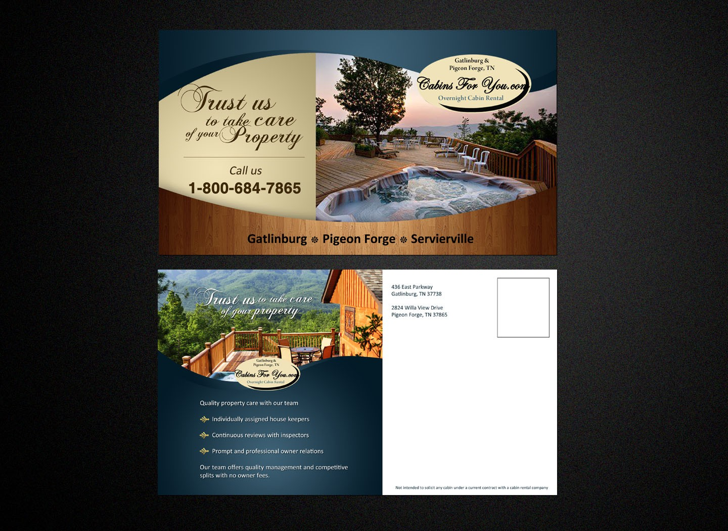 Help Cabins For You with new postcard design