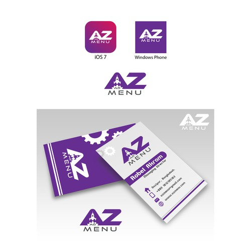 AZ Menu ((Logo)), a web service company managed by machine.