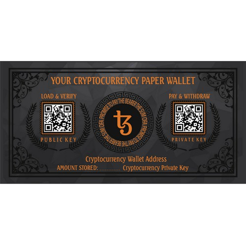 Paper wallet for a Cryptocurrency company