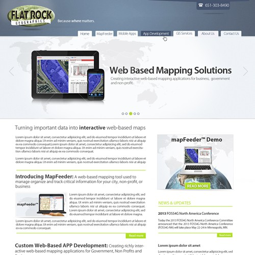 Create the next website design for Flat Rock Geographics