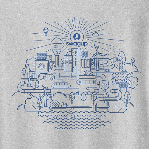 T-Shirt illustration of an eco-city
