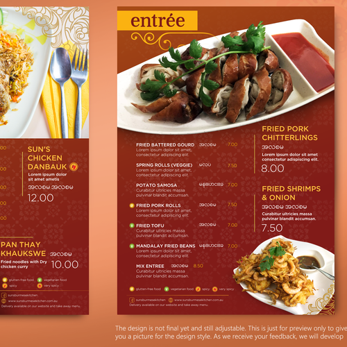Menu Design for Suns Burmese Kitchen