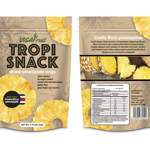 Dried pineapple rings for the USA market from Costa Rica