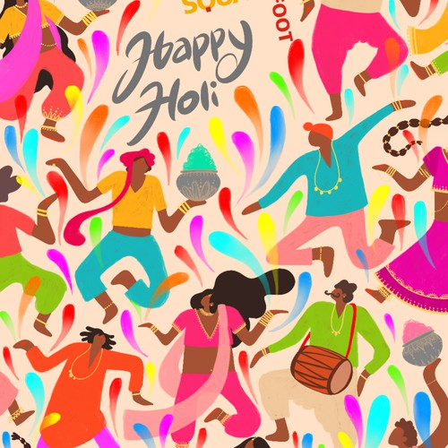 Illustration depicting holi (festival of colours)