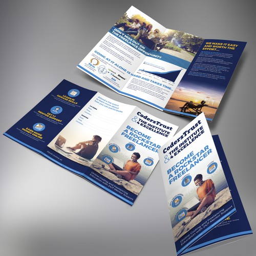 Tri-fold brochure design for the Institute for Excellence