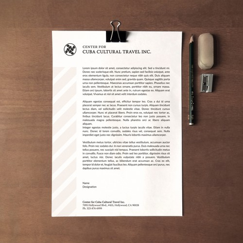Clean Letterhead with clear boundaries.