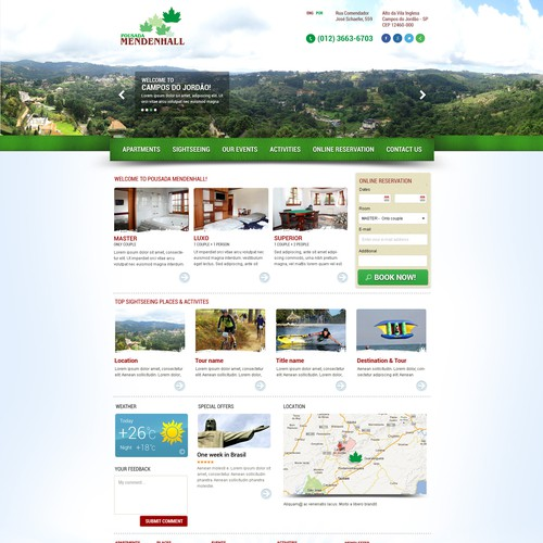 website design for Pousada Mendenhall (Mendenhall Inn)