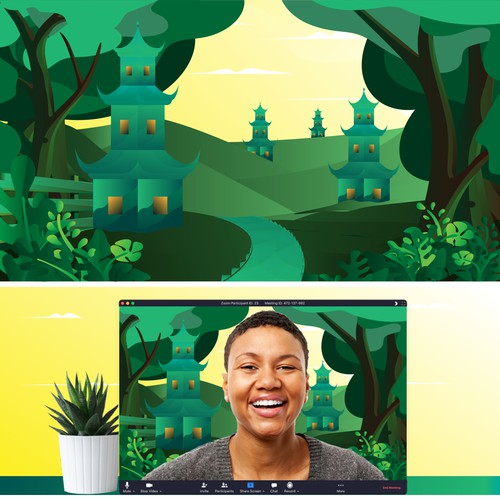Illustrate your happy place as a virtual background