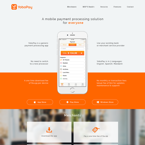 Webdesign for mobile payment app