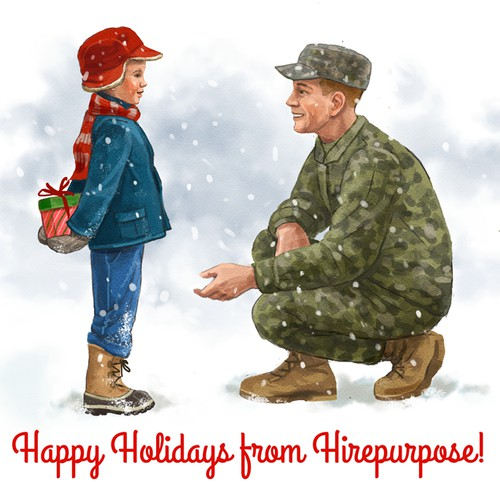 Create a classic-looking holiday illustration for Hirepurpose