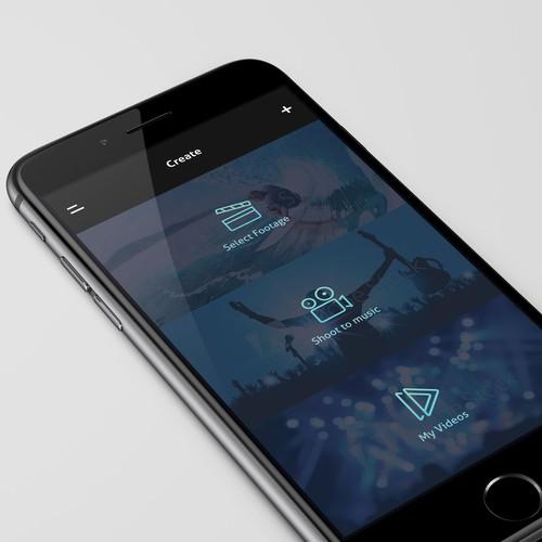Initial menu screen for video editing app