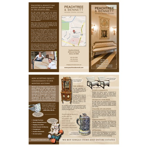 Brochure for Peachtree & Bennett, an estate and antiques auction house.