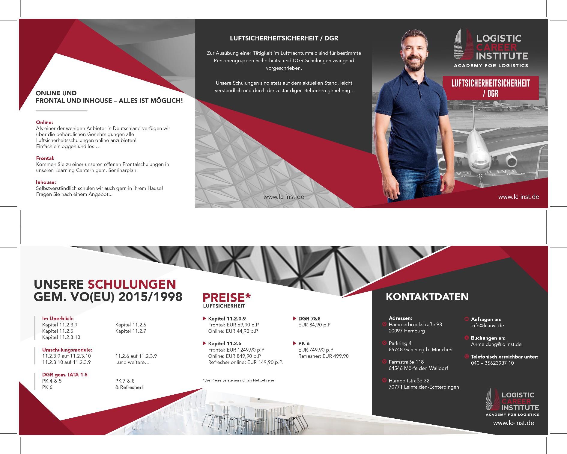Flyer für ein modernes Learning-Institute: Luftsicherheit