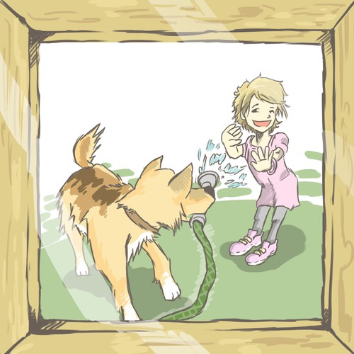 Illustration of little girl and her pet dog for a children's book