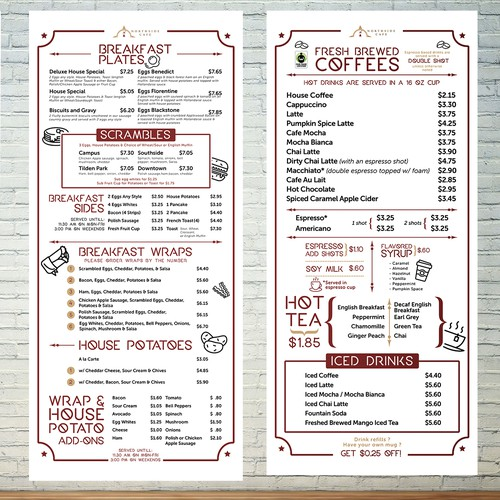 Simple Wall Menu Board Design for Cafe
