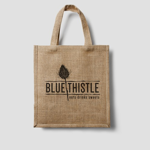 Create a logo for the Blue Thistle cafe that captures both an earthy and classy feel!!