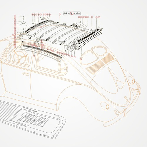 line drawings of various VW bug, bus, and truck.