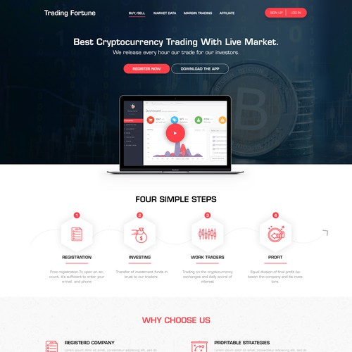 Website redesign for a Bitcoin trading company.