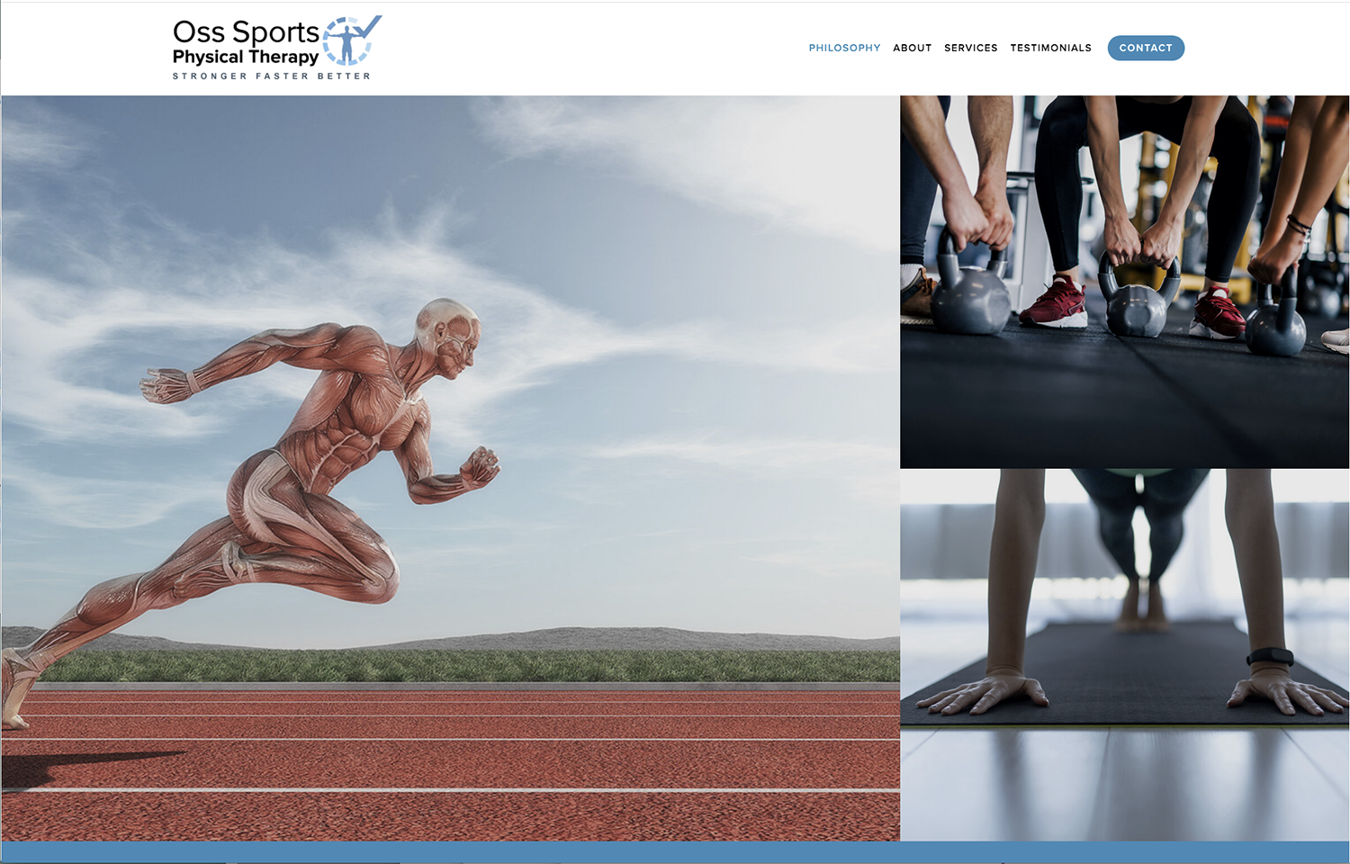 website for a new start up Physical Therapy practice, Oss Sports PT, opening Aug 1st.
