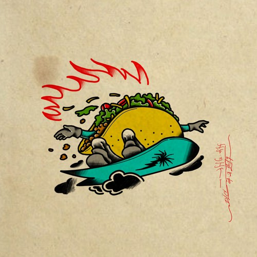 Western Traditional Taco Snowboarder