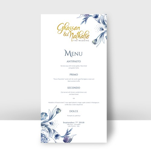 simple elegant wedding menu