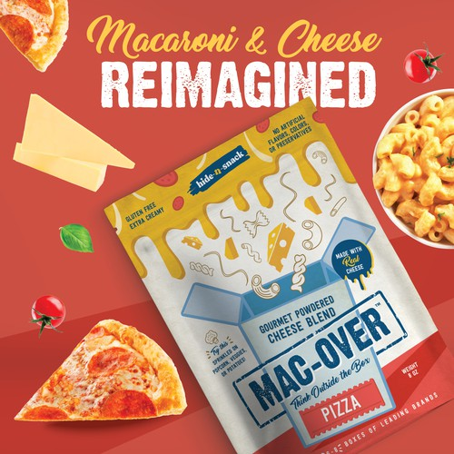 Packaging range for Mac-Over Gourmet Powdered Cheese Blend