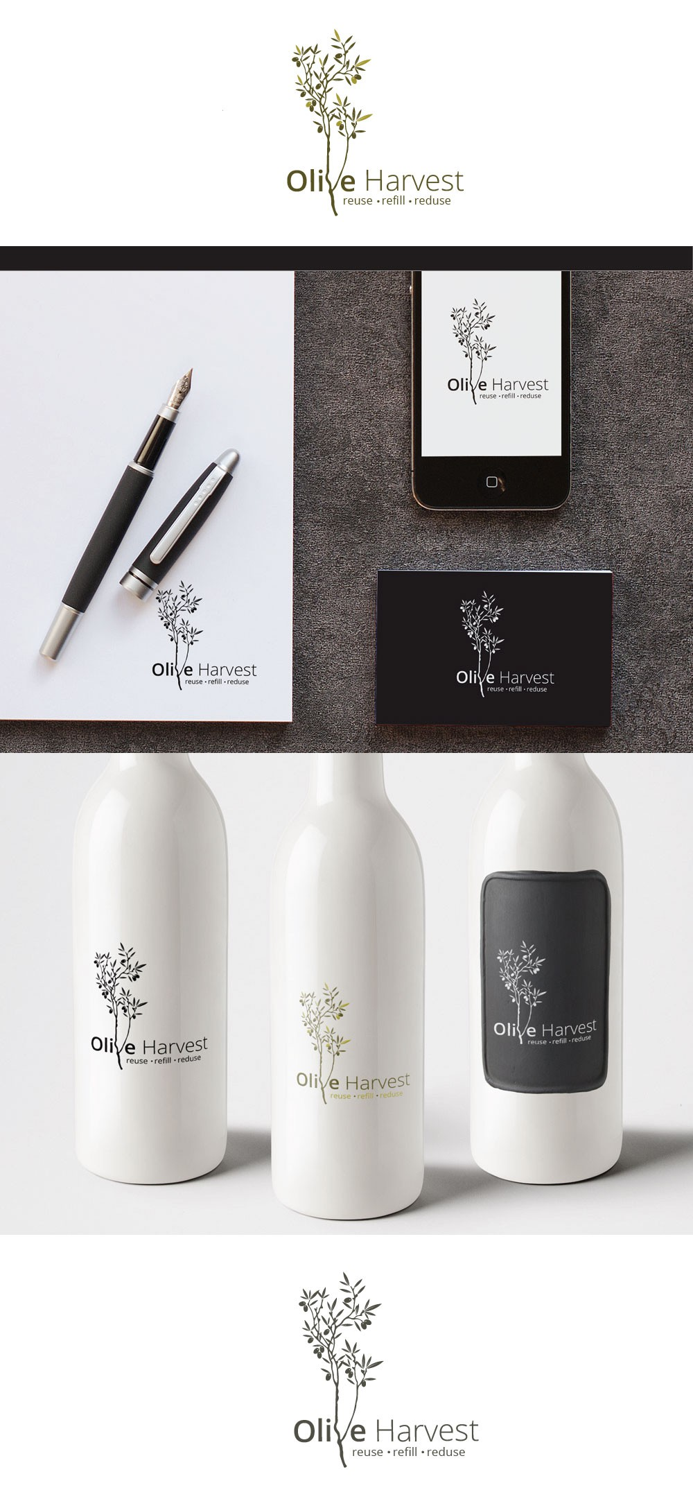 Create a fresh modern rustic brand image for a sustainable olive oil market business -  Olive Harvest