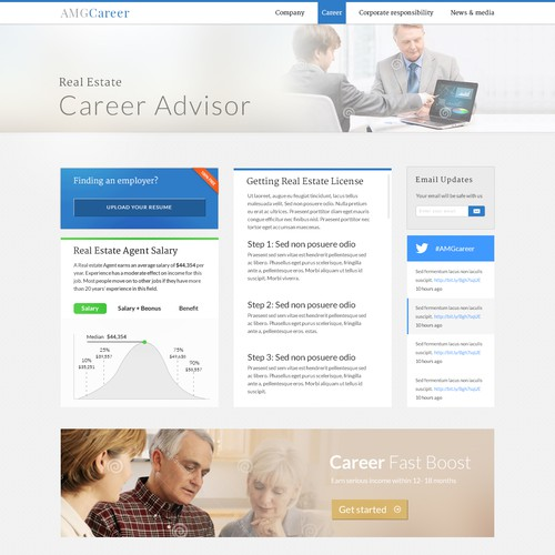 Clean web design for Career website