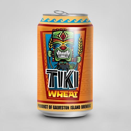 Galveston Island Brewing Tiki Wheat Product Rebrand