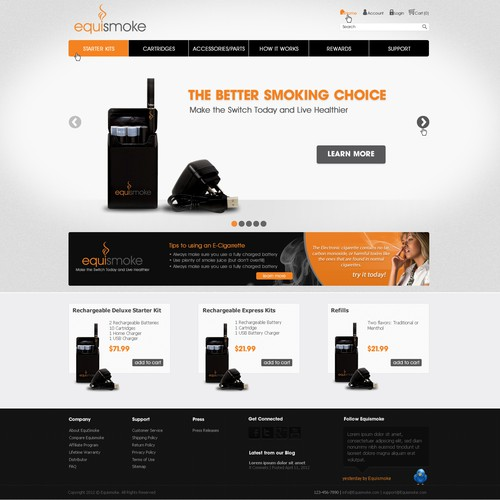New website design wanted for Electronic Cigarettes