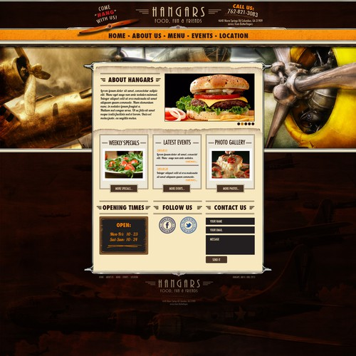 Website design for Hangars restaurant