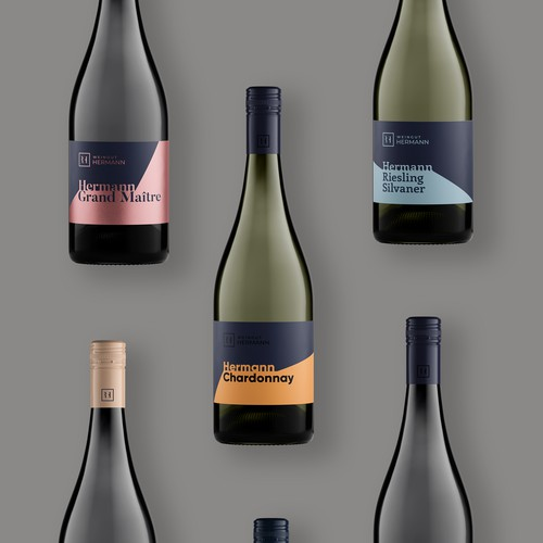Noble and modern wine labels