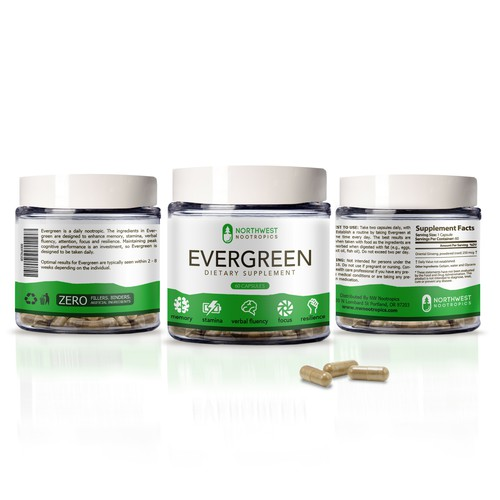 Concept Label: Evergreen, Dietary Supplement