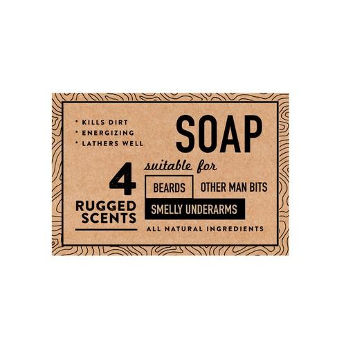 Soap packaging (back) for men's range