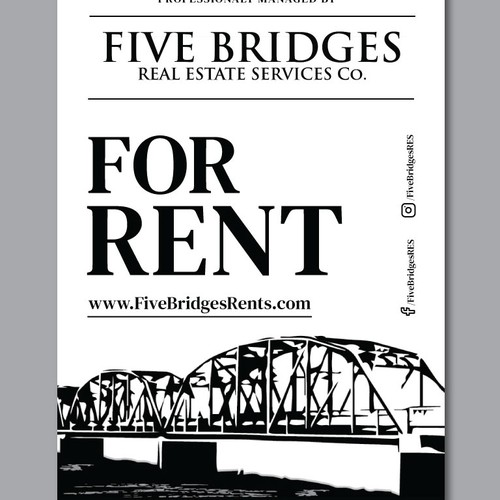 Rental Signage for Five Bridges real estate company.