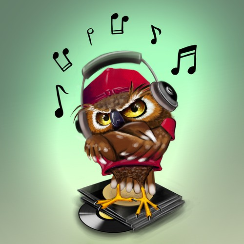 Character design of an Owl with headphones