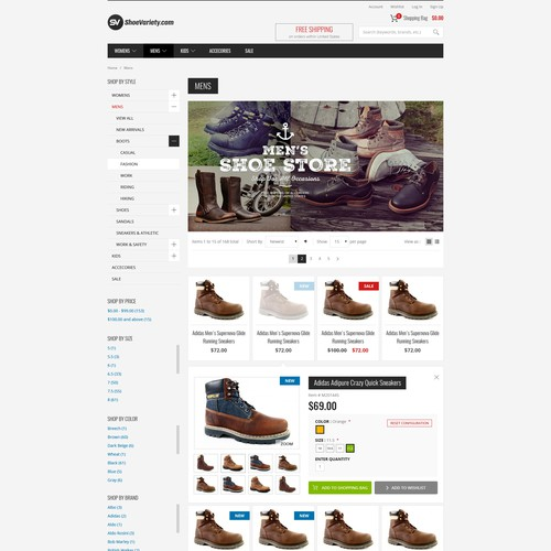 Footwear Store Website Design Contest - Winner Guaranteed