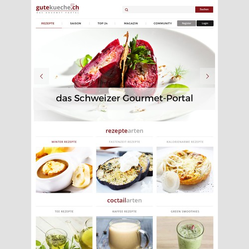 Webdesign for culinary portal