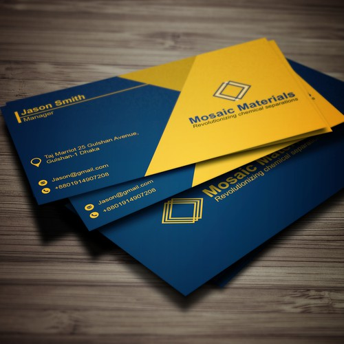Business card for a fast growing high technology startup