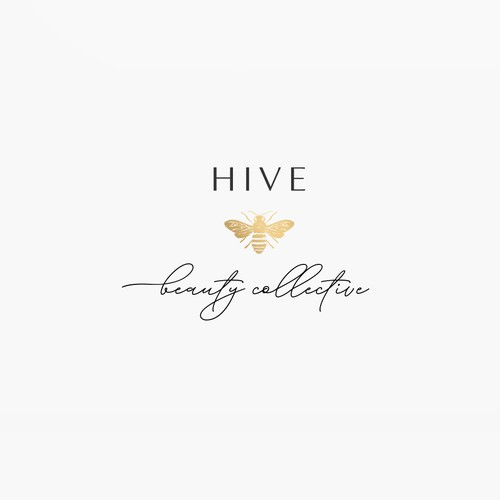 Logo design with yellow gold bee for Hive Beauty Collective