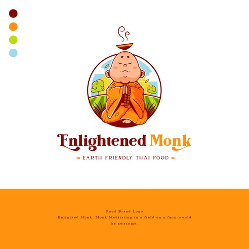 Food Brand Logo for Enlightened Monk