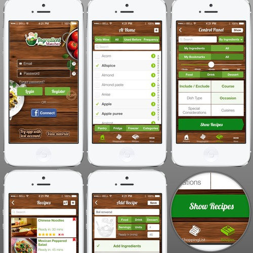 New recipe app - IngredientMatcher needs an iOS7 design