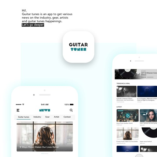 Homepage app design for Guitar Tunes