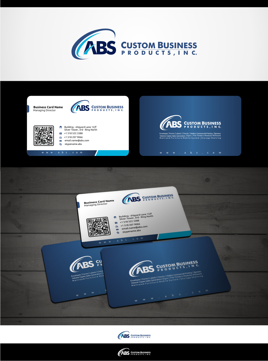 New logo and business card wanted for ABS Custom Business Products, Inc.