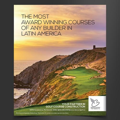 Create a magazine ad for Diamond Golf (golf course construction company)