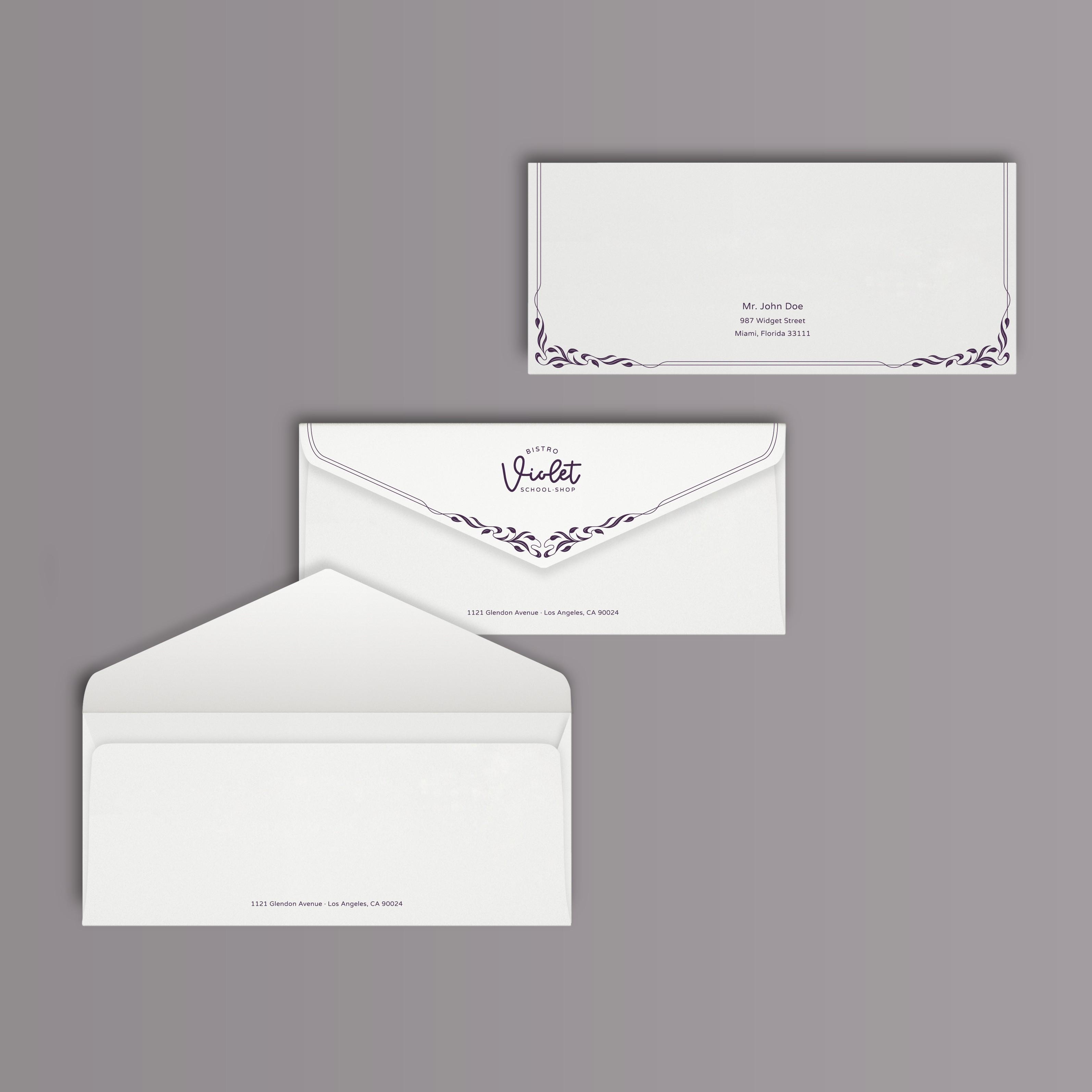 Violet envelope design