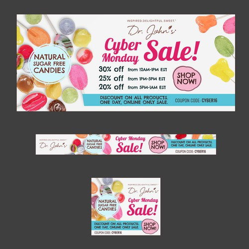 Banner ads for Candy company