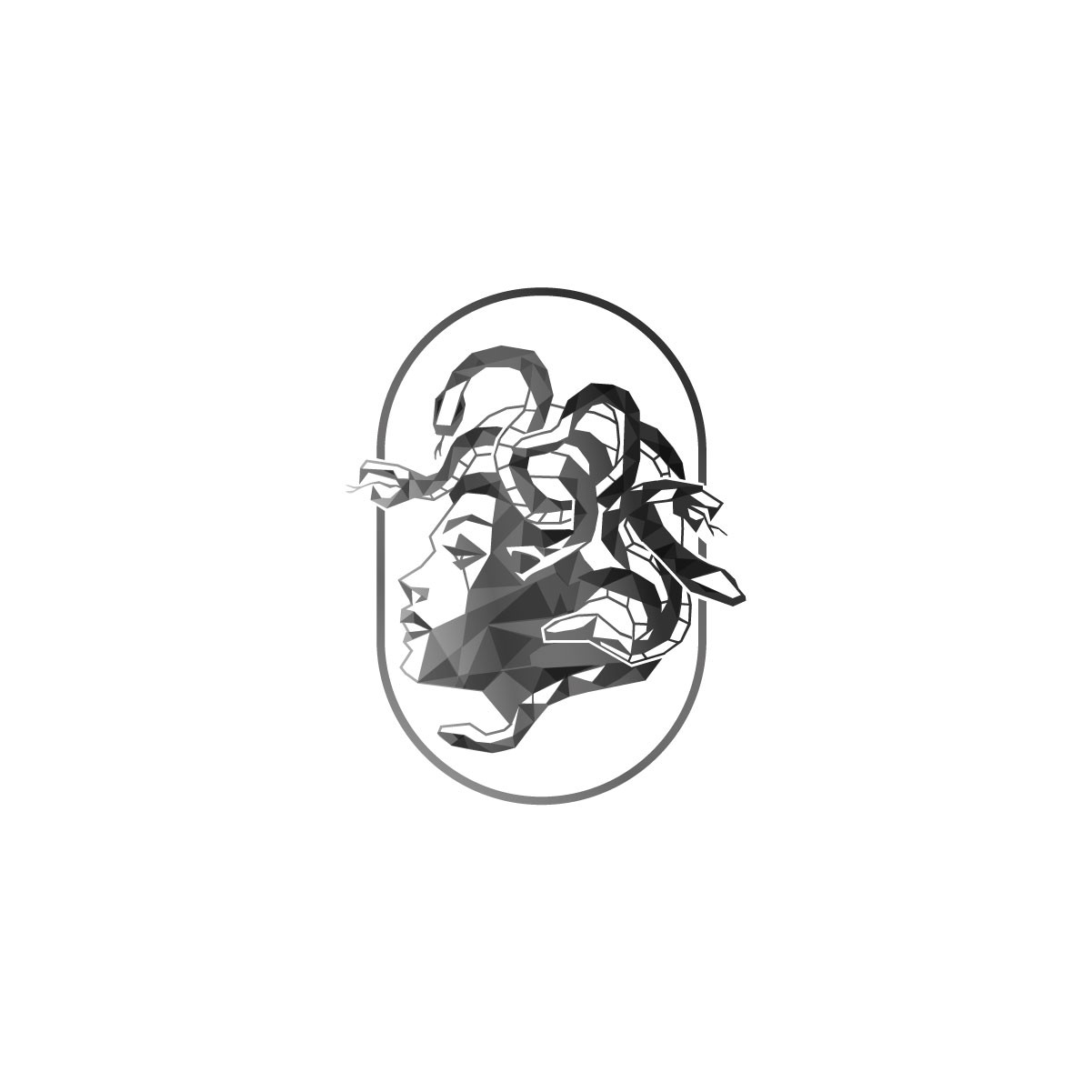 Design a low poly Medusa head for our kombucha company