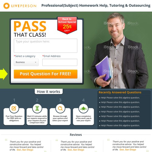 Create a winning landing page for an online tutoring/ outsourcing website